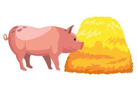 farm, animals and farmer pig with hay icon cartoon vector illustration graphic design