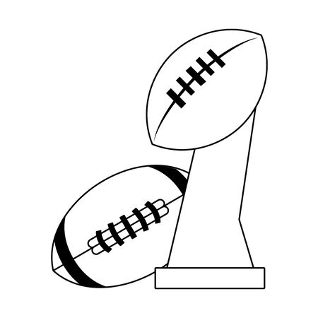 american football sport game champion trophy with ball cartoon vector illustration graphic design 向量圖像
