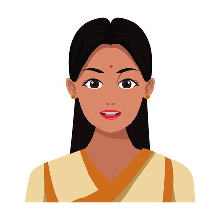 indian young girl face with bindi profile picture avatar cartoon character portrait vector illustration graphic design