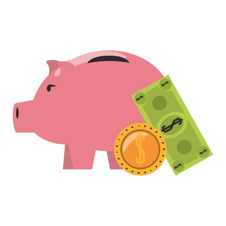 Money piggy with coin and billet symbols vector illustration Stock Illustratie