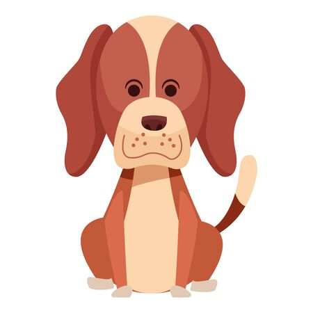 cute dog sitting icon cartoon portrait brown isolated vector illustration graphic design