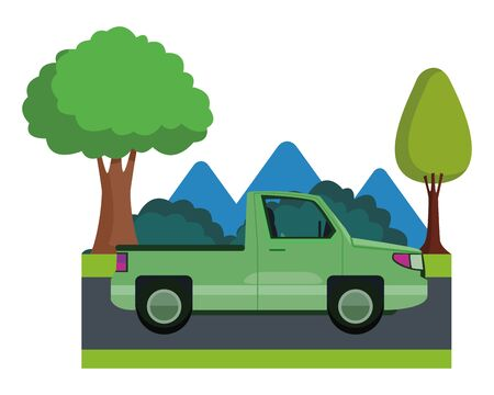 Pick up truck vehicle sideview cartoon on highway with landscape scenery ,vector illustration graphic design.
