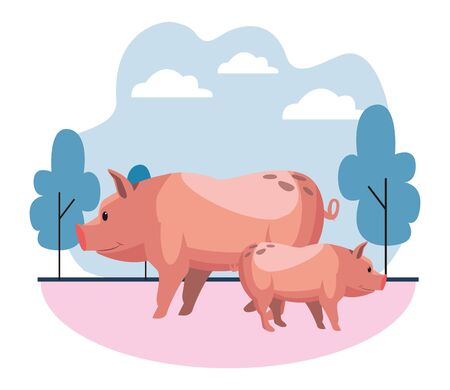 farm, animals and farmer two pig icon cartoon over the grass with trees and clouds vector illustration graphic design Ilustração
