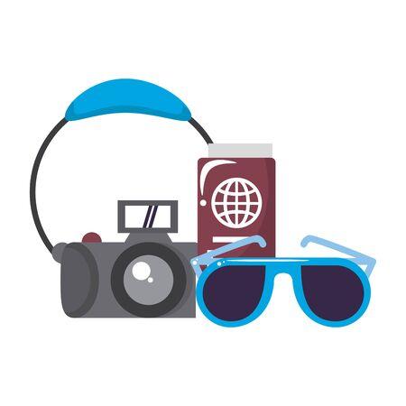 trip around the world symbols with headphones sunglasses and passport isolated symbols Vector design illustration 일러스트