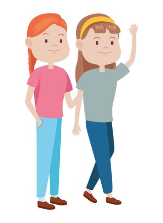 Teenagers women friends greeting and smiling with casual clothes cartoons ,vector illustration graphic design.  イラスト・ベクター素材