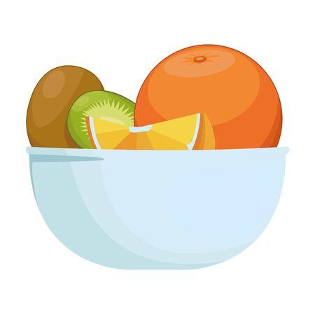 Fresh fruits orange lemon and kiwi in bowl cartoon vector illustration graphic design