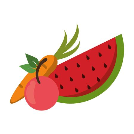 fruits fresh delicious healthy isolated cartoon vector illustration graphic design