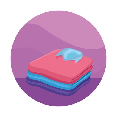 stacked folded clothes, shirts, jacket icon cartoon in round icon Иллюстрация