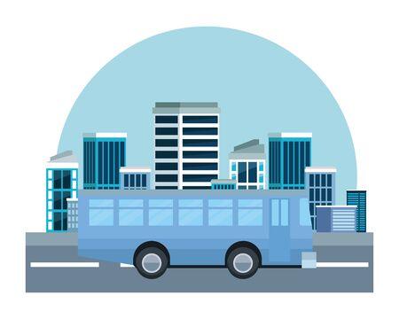 Public bus vehicle sideview cartoon on the city, urban scenery background ,vector illustration graphic design. Ilustração