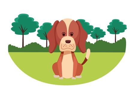 cute dog sitting icon cartoon portrait brown with rural landscape