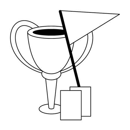 Soccer sport game trophy cup referee cards and red flag isolated vector illustration graphic design Ilustração