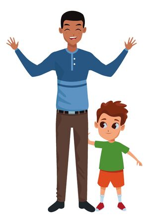 Family single father with little son cartoon vector illustration graphic design Ilustrace