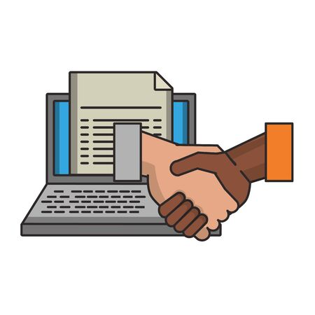 Laptop with business document and handshake symbol vector illustration