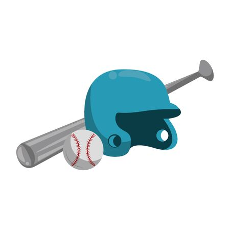 baseball equiment elements ball, batter helmet and aluminum bat icon cartoon vector illustration graphic design Banque d'images - 129165006