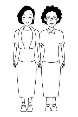 Grandmothers friends couple smiling cartoon vector illustration graphic design Foto de archivo - 129165023