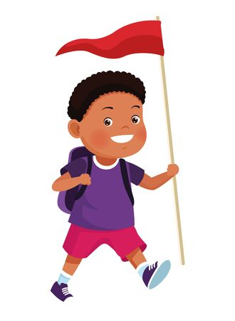 Happy boy with camping backpack and flag ready to summer camp ,vector illustration .graphic design.