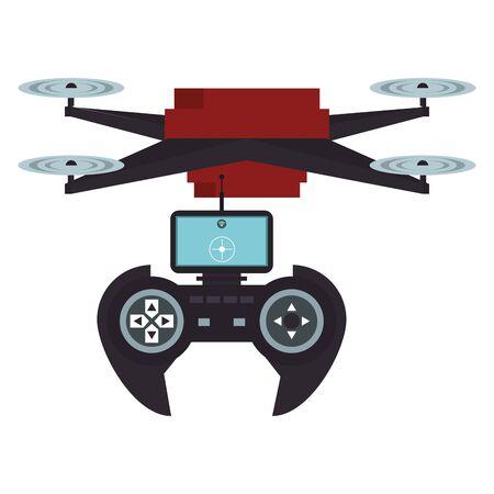 air drone remote control technology device cartoon vector illustration graphic design Illusztráció