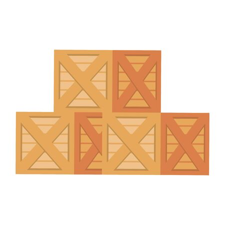 Merchandise wooden boxes piled up vector illustration 일러스트