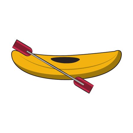 Kayak with rowing isolated cartoon symbol vector illustration graphic design