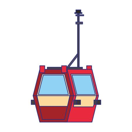 Cableway public transport isolated symbol vector illustration Çizim