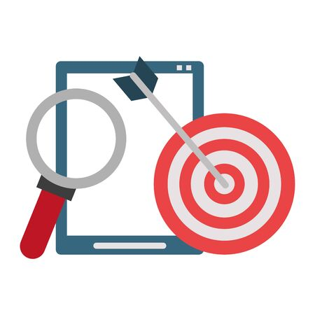 Office and business technology symbols tablet and target dartboard with magnifying glass vector illustration graphic design