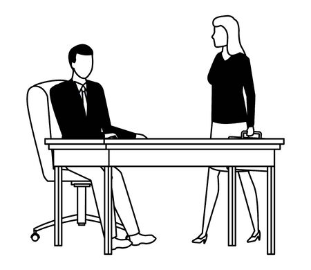 business business people businessman sitting on a desk and businesswoman carrying a briefcase avatar cartoon character in black and white