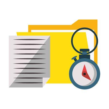 documents files system archives with chronometer cartoon vector illustration graphic design