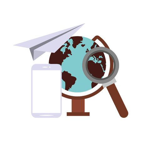 elearning and education world globe and magnifying glass with smartphone symbols vector illustration graphic design
