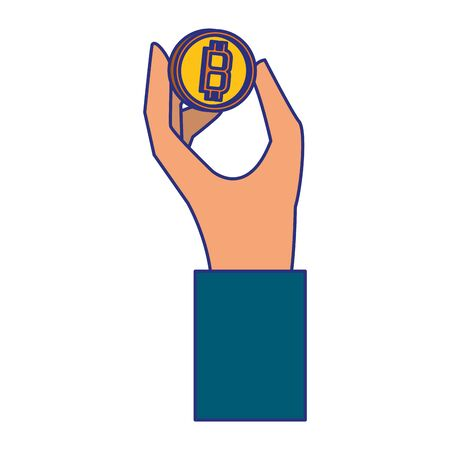 Hand holding bitcoin symbol isolated vector illustration graphic design