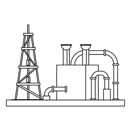 oil refinery gas factory industry petrochemical petroleum oil rig plant with destillation tank cartoon vector illustration graphic design Çizim