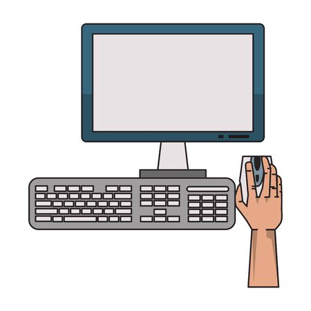 hand using desk computer with mouse monitor and keyboard vector illustration graphic design