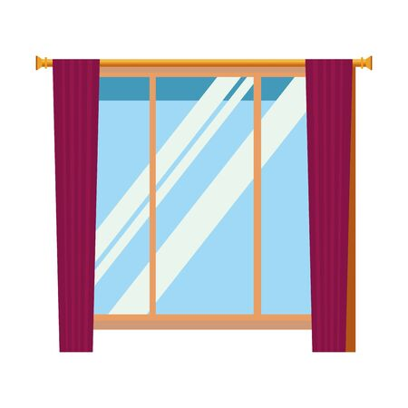 House window with curtains cartoon vector illustration graphic design