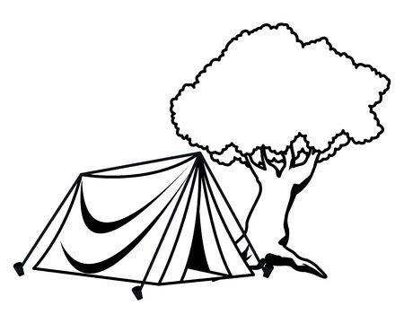 Camping tent and nature tree ,vector illustration graphic design.