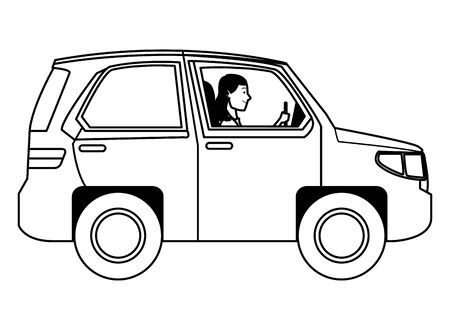 Woman driving SUV vehicle sideview cartoon vector illustration graphic design. Иллюстрация