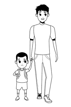Family single father with kid holding school backpack isolated vector illustration graphic design Ilustrace