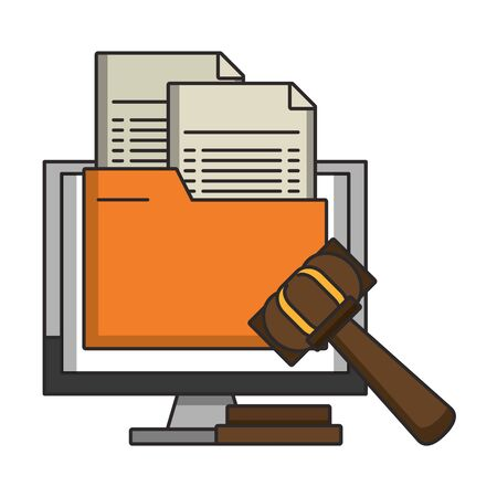 Computer with document and justice gavel symbol vector illustration Standard-Bild - 129155572