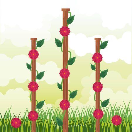 Beatiful garden with flowers sunny day scenery vector illustration graphic design Ilustração
