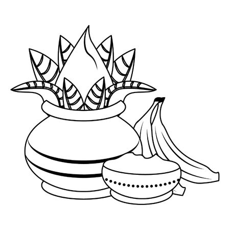 Ugadi festival offering flowers pot bananas and powder cartoons vector illustration graphic design Illustration