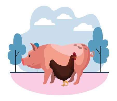 farm, animals and farmer pig and hen icon cartoon over the grass with trees and clouds vector illustration graphic design Ilustração