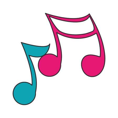 Music notes symbol isolated cartoon vector illustration graphic design Stock Illustratie