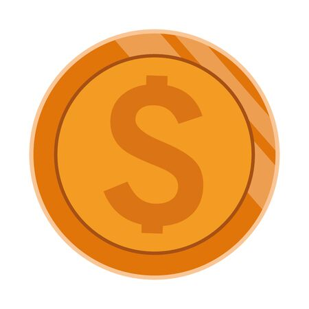 big coin with money sign icon cartoon isolated vector illustration graphic design Stock Illustratie