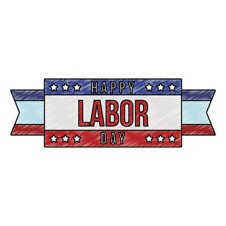 Happy labor day emblem vector illustration graphic design Ilustrace