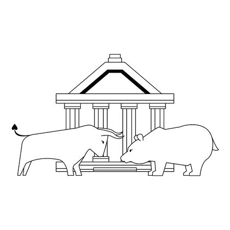 Bank building with bear and bull stock market symbols in black and white vector illustration Foto de archivo - 129185157