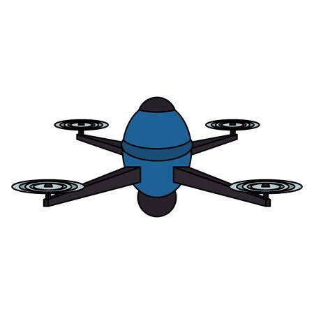 Luftdrohnen-Fernbedienungstechnologie blaues Gerät Cartoon-Vektor-Illustration-Grafik-Design