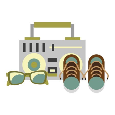accessories for tourism and vacations and stereo with sneakers and sunglasses isolated symbols Vector design illustration