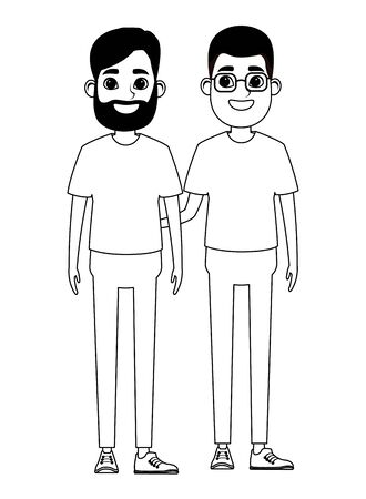 avatar men avatar man wearing glasses and man with beard profile picture cartoon character portrait in black and white vector illustration graphic design
