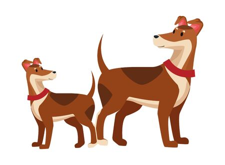 domestic animals and pet with dog and puppy icon cartoon vector illustration graphic design Ilustração