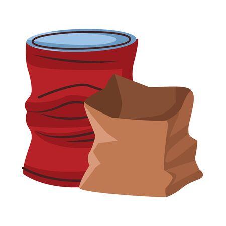 crumpled aluminum soda can and paper bag icon cartoon vector illustration graphic design Archivio Fotografico - 129185335