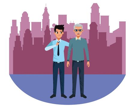 Family single father with adult son cartoon vector illustration graphic design in the city urban scenery background ,vector illustration graphic design.