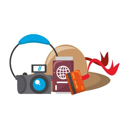 Summer and travel hat passport credit card and camera with headphones cartoons vector illustration graphic design Foto de archivo - 129169848